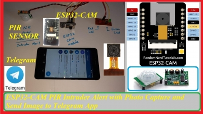ESP32-CAM PIR Intruder Alert with Photo Capture and Send Image to Telegram App